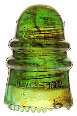 CD 124 HEMINGRAY, Aqua w/ Amber Swirling; Nice amber!