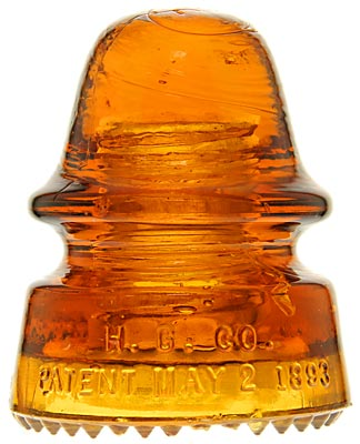 CD 162 H.G.CO. Glowing Tangerine Orange Amber; Extra dome glass!