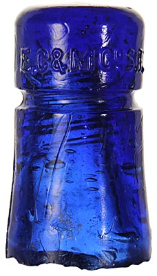 CD 123 E.C.& M.CO., Rich Cobalt Blue; Great color! One of the most desirable insulators in the hobby.