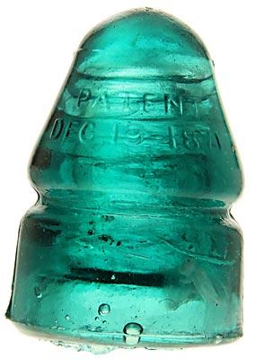 CD 133.4 PATENT DEC. 19, 1871, Aqua w/ Milky Swirls; Crude with milk & soot!