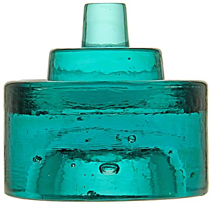 """CD 40 {Unembossed}, Deep Blue Aqua; A VERY RARE battery rest and a beautiful heavy chunk of glass, 4 1/2"""" in diameter and 4 3/8"""" tall!"""