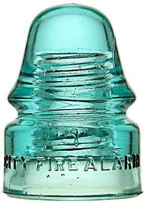 CD 133 CITY FIRE ALARM, Light Blue Aqua; FIRE! FIRE! FIRE! A popular New England style used only in Fall River, MA!