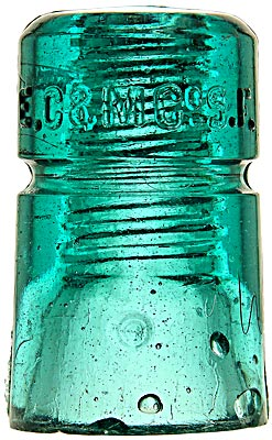 "CD 123 E.C.& M.CO. ""C"" Mold, Aqua; Interesting beveled dome mold style!"