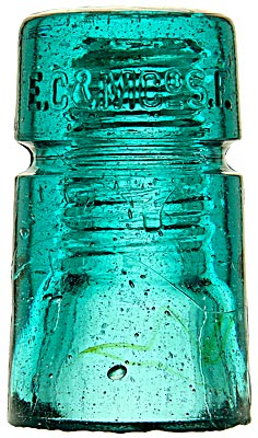 "CD 123 E.C.& M.CO. ""B"" Mold, Aqua; Classic old western glass!"