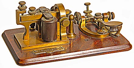 """Bunnell Telegraph Sounder & Key, ; """"The prettiest and most perfect set""""!"""
