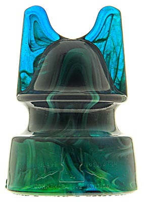 H & H Commemorative, Inky Cobalt Blue w/ Green & White Slag Glass ; Swirls, swirls, swirls!