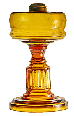 """Stanbury"" pattern Hemingray Oil Lamp, Golden Amber; Light up your Hemingray collection!"
