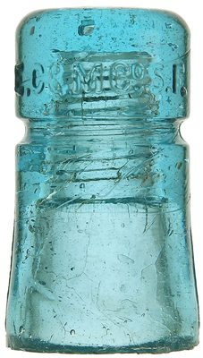 "CD 123 E.C.& M. CO., Bright Light Blue; ""A"" mold, a new find, read how it traveled west to east!"