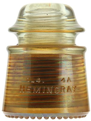 CD 142 HEMINGRAY {w/ copper liner}, Carnival; A specialty insulator developed for Western Union Telegraph!