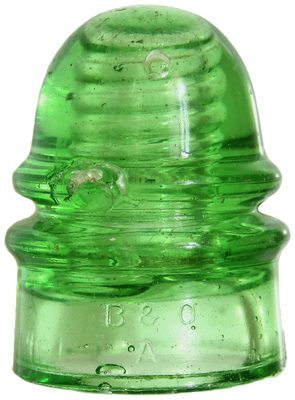 CD 136 B & O / DEC.19.1871, Glowing Bright Depression Glass Green; a rare piece and stunning color