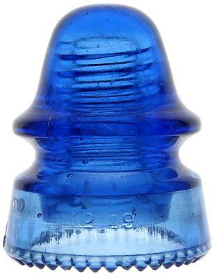 CD 162 No 19 {Hemingray product}, Translucent Cobalt Blue; Unusual embossing missing 'HEMINGRAY'