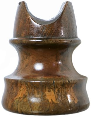 San Francisco Wooden Trolley Insulator, Mottled Dark Brown; Still with the wear marks in the saddle!
