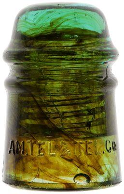 CD 121 AM. TEL. & TEL. CO., Green w/ Heavy Amber Swirls; AMAZING swirls all around!