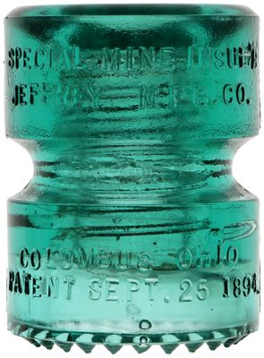 CD 185 JEFFREY MINE INSULATOR, Aqua; amazing condition, unheard of for this style!