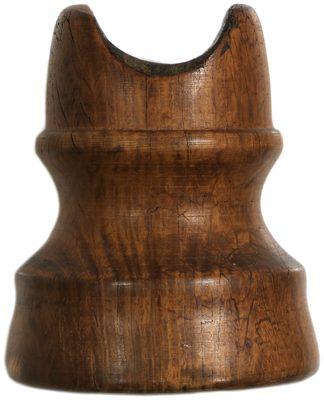 San Francisco Wooden Trolley Insulator, Brown/Tan Two-Tone; Inner skirt variant!