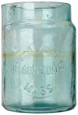 "PETTINGELL ANDREWS Battery Jar, Light Aqua w/ ""Amber streak""; unusual embossing that shares the name embossed on glass insulators!"