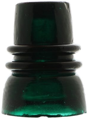 CD 736.7 {Unembossed}, Teal Green Blackglass with Milk; Quite rare, and the largest threadless!
