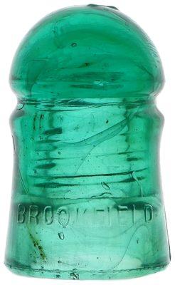 CD 102 BROOKFIELD, Green w/ Milk Swirls; A solid dome of glass!