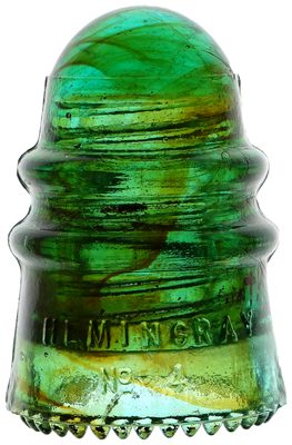 CD 124 HEMINGRAY, Green w/ Amber Swirls; A combination of great swirls and great condition!