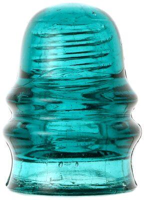 CD 131.4 {Unembossed}, Deep Blue Aqua; Early threaded glass!